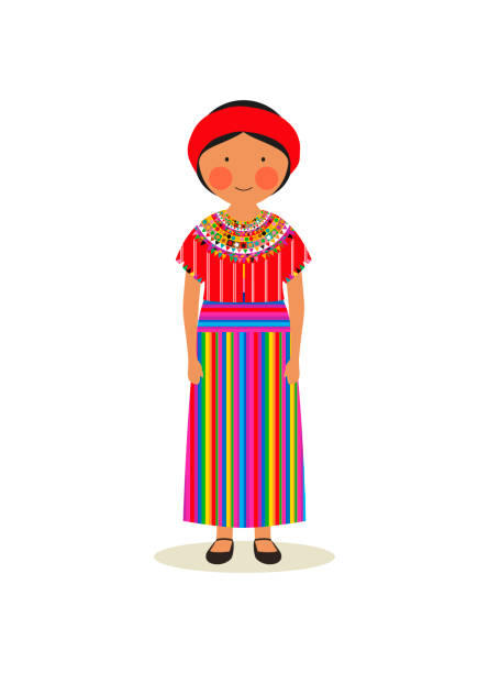 Guatemalan traditional clothing for women vector art illustration