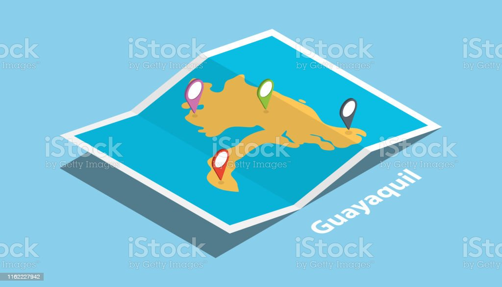 guayaquil ecuador explore maps location with folded map and pin...