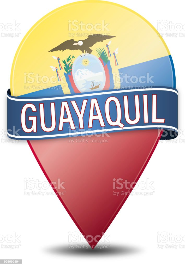 guayaquil web navigation pin illustration on white vector art illustration