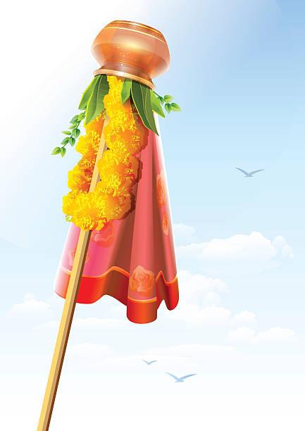 gudi padwa. kupfer topf und girlande. festliche dekoration - padua stock-grafiken, -clipart, -cartoons und -symbole