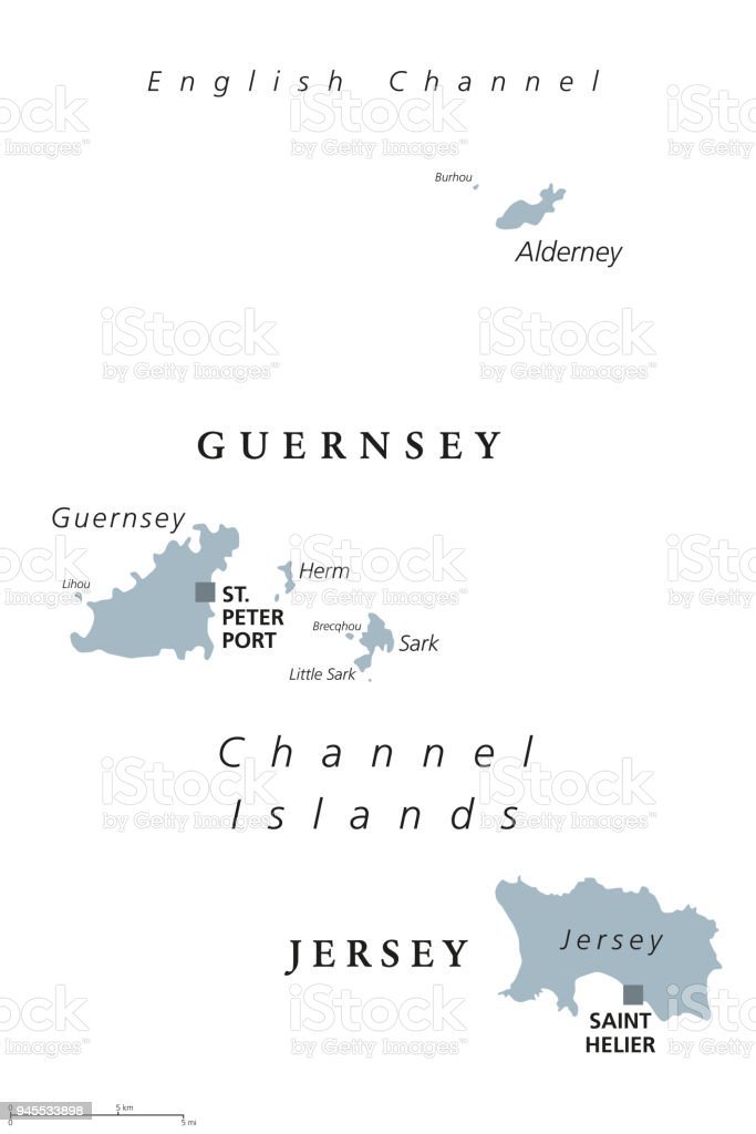 Guernsey England Map.Guernsey And Jersey Channel Islands Gray Political Map Stock Vector