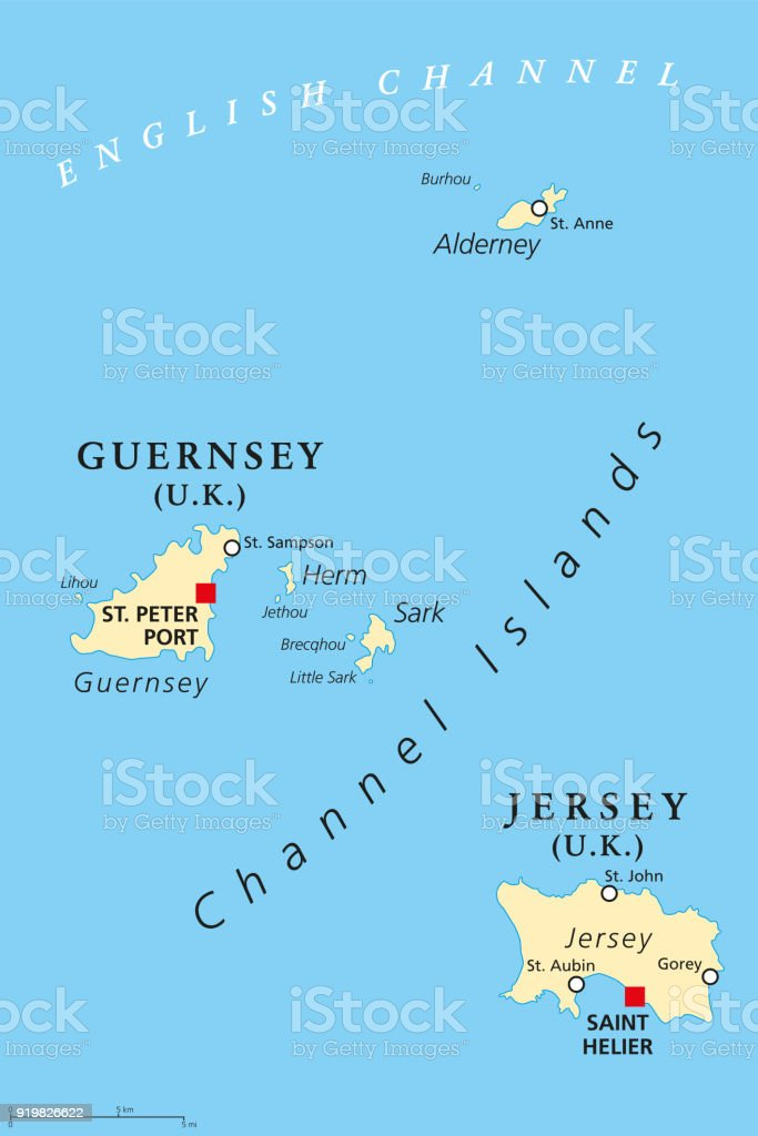 Guernsey England Map.Guernsey And Jersey Channel Islands Political Map Stock Vector Art