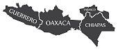 Guerrero - Oaxaca - Chiapas - Tabasco Map Mexico illustration