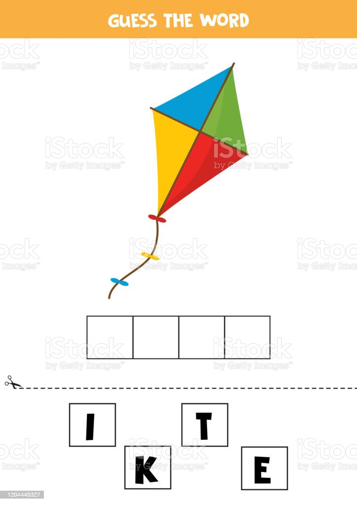 Guess The Word Kite Elementary Spelling Game For Kids Stock Illustration Download Image Now Istock
