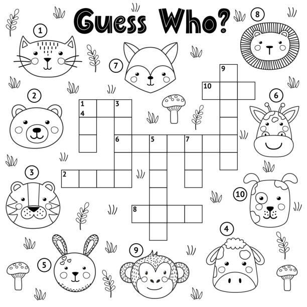 bildbanksillustrationer, clip art samt tecknat material och ikoner med gissa vem svart och vitt korsord för barn - hund skog
