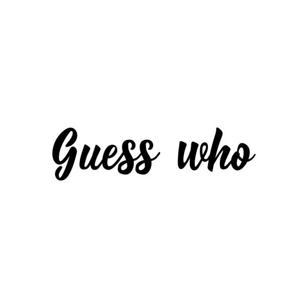 guess who. vector illustration. christmas lettering. ink illustration. secret santa. - secret santa messages stock illustrations