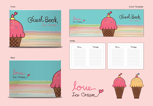guest book Cover and inside page ice Cream Sweets desserts themes vector illustration, cute guest book