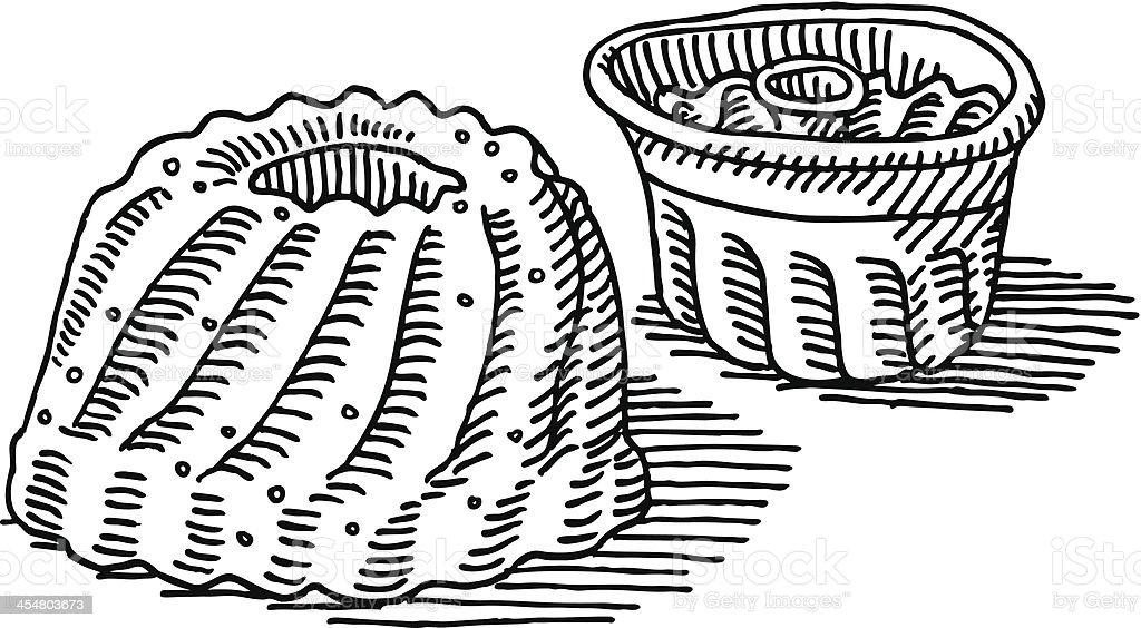 gugelhupf kuchen backen pfanne zeichnung stock vektor art. Black Bedroom Furniture Sets. Home Design Ideas