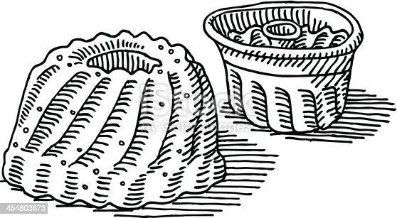 Gugelhupf Kuchen Backen Pan Zeichnung Clipart Bilder Vektor