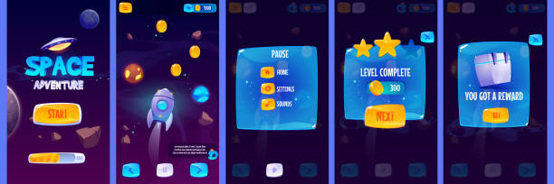 Gui app screens for space adventure game Graphic user interface for space adventure game. Vector set of gui app screens with glossy menu buttons and icons, panel with pause and reward, start banner and futuristic background with rocket adventure borders stock illustrations