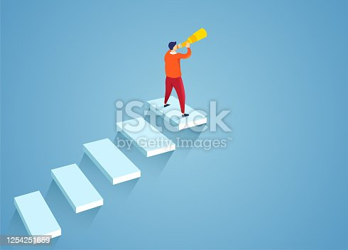 Businessman holding a telescope standing on the stairs looking into the distance, Business vision