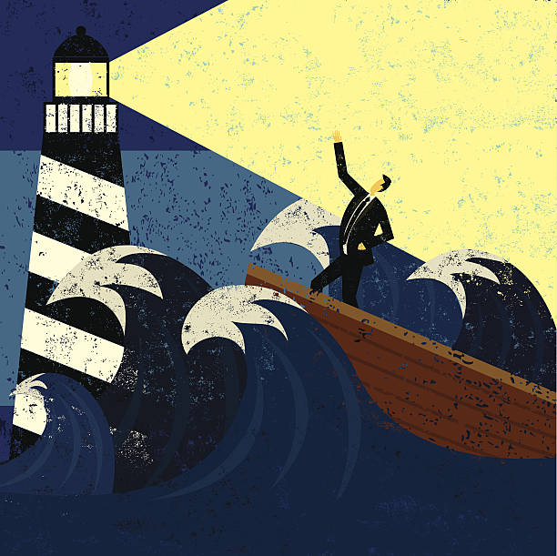 Guidance in a stormy sea A lighthouse providing guidance to a boat in a stormy sea. The lighthouse, man & boat, and the waves are on a separate labeled layer from the background. RETROROCKET stock illustrations