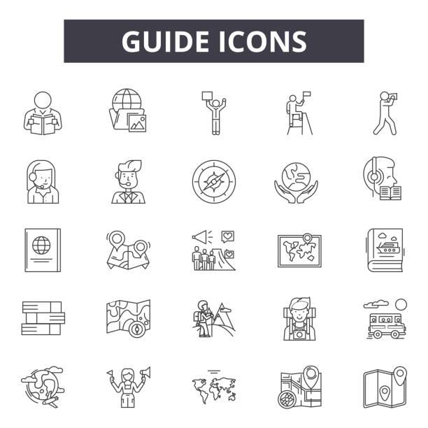 guide-line-icons für web-und mobile-design. bearbeitbare schlaganfall-schilder. anschauliche abbildungen - forschungsurlaub stock-grafiken, -clipart, -cartoons und -symbole