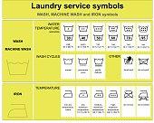 Laundry service symbols, wash, machine wash and iron icon set