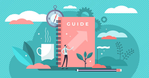 Guide vector illustration. Tiny technical FAQ information persons concept. vector art illustration