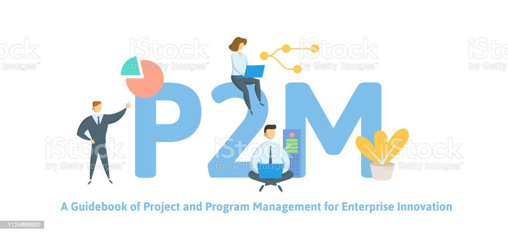 P2M, A Guidebook for Project and Program Management for Enterprise Innovation. Concept with keywords, letters and icons. Flat vector illustration. Isolated on white background. vector art illustration