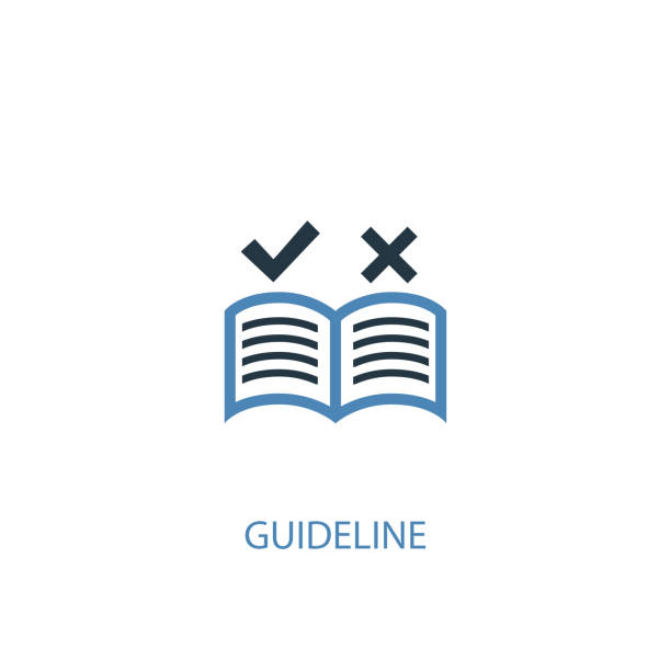 guideline concept 2 colored icon. Simple blue element illustration. guideline concept symbol design. Can be used for web and mobile UI/UX guideline concept 2 colored icon. Simple blue element illustration. guideline concept symbol design. Can be used for web and mobile UI/UX instructions stock illustrations