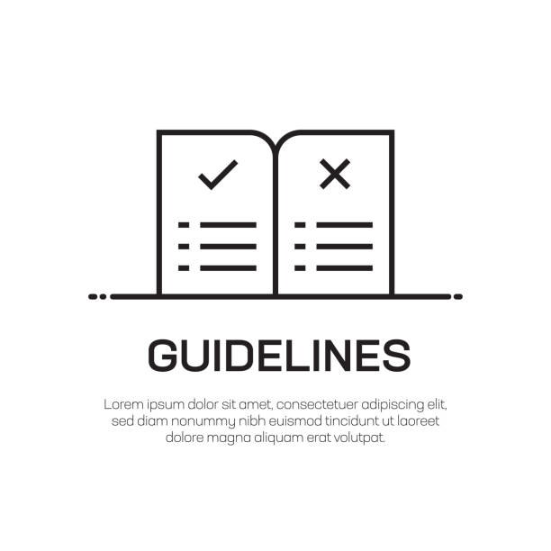 illustrazioni stock, clip art, cartoni animati e icone di tendenza di guidelines vector line icon - simple thin line icon, premium quality design element - guida turistica professione