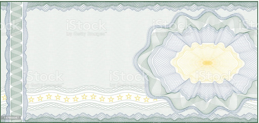 Guilloche Background for Voucher, Gift Certificate, Coupon or Banknote royalty-free stock vector art