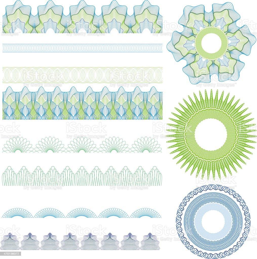 Guilloche brushes vector art illustration