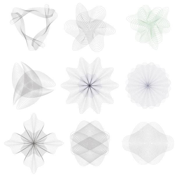 Guilloche decorative elements vector art illustration
