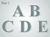 guilloche letters A B C D E