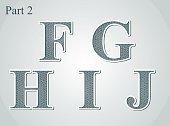 guilloche letters F G H I J