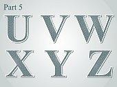 guilloche letters U V W X Y Z