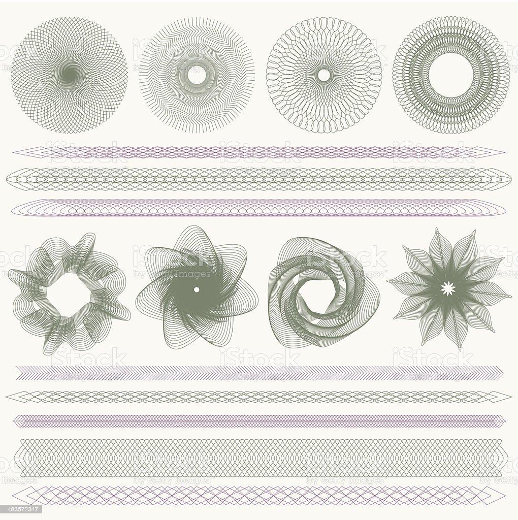 Guilloche Muster Grenzen Stock Vektor Art und mehr Bilder von ...