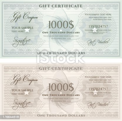 Guilloche Pattern Vouchers Or Gift Certificate Templates Stock