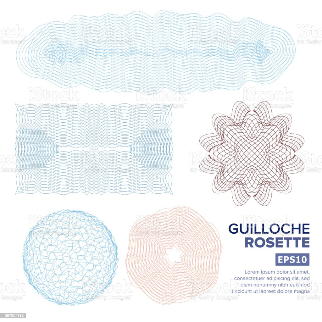 Guilloche Rosette Set Vector. Decorative Abstract Rosette Elements For Diploma, Certificate, Money Or Passport. Guilloche Background Rosette. Vector Illustration vector art illustration