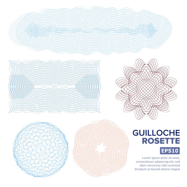 Guilloche Rosette Set Vector. Decorative Abstract Rosette Elements For Diploma, Certificate, Money Or Passport. Guilloche Background Rosette. Vector Illustration Guilloche Rosette Vector. Decorative Rosette Elements For Diploma Or Passport. Guilloche Background flower head stock illustrations