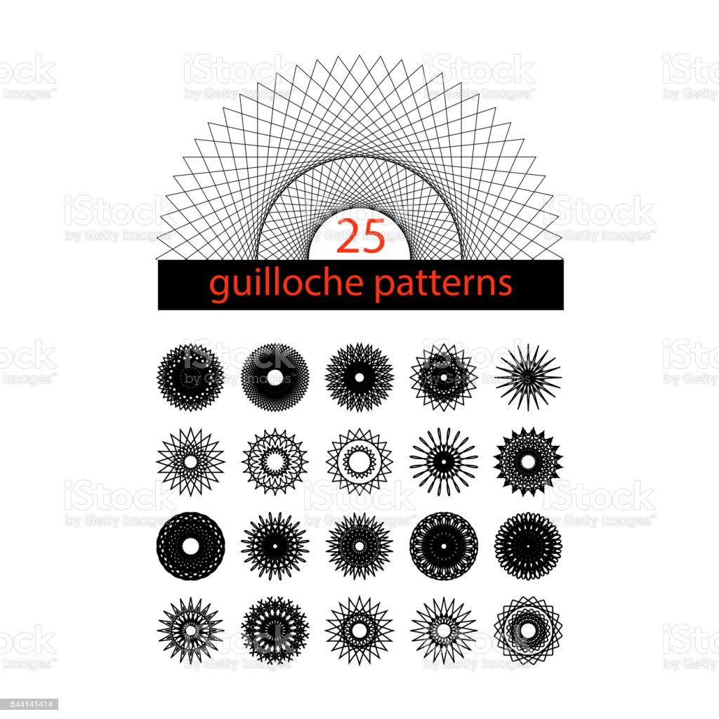 Guilloche symbols set. Spirograph isolated collection. vector art illustration