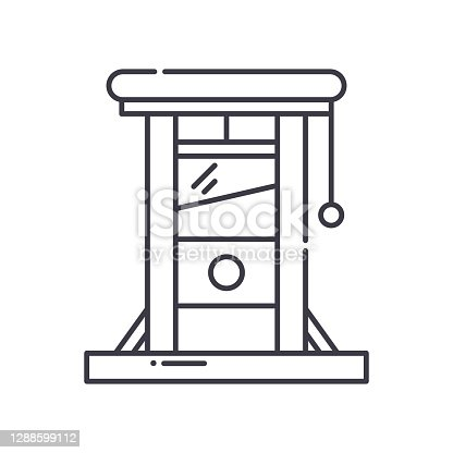 Guillotine icon, thin line isolated illustration, linear vector web design sign, outline concept symbol with editable stroke on white background.