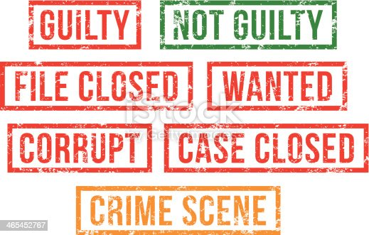 Guilty, crime scene -  rubber stamps.