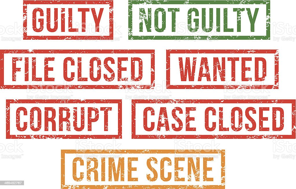Guilty, crime scene -  rubber stamps vector art illustration