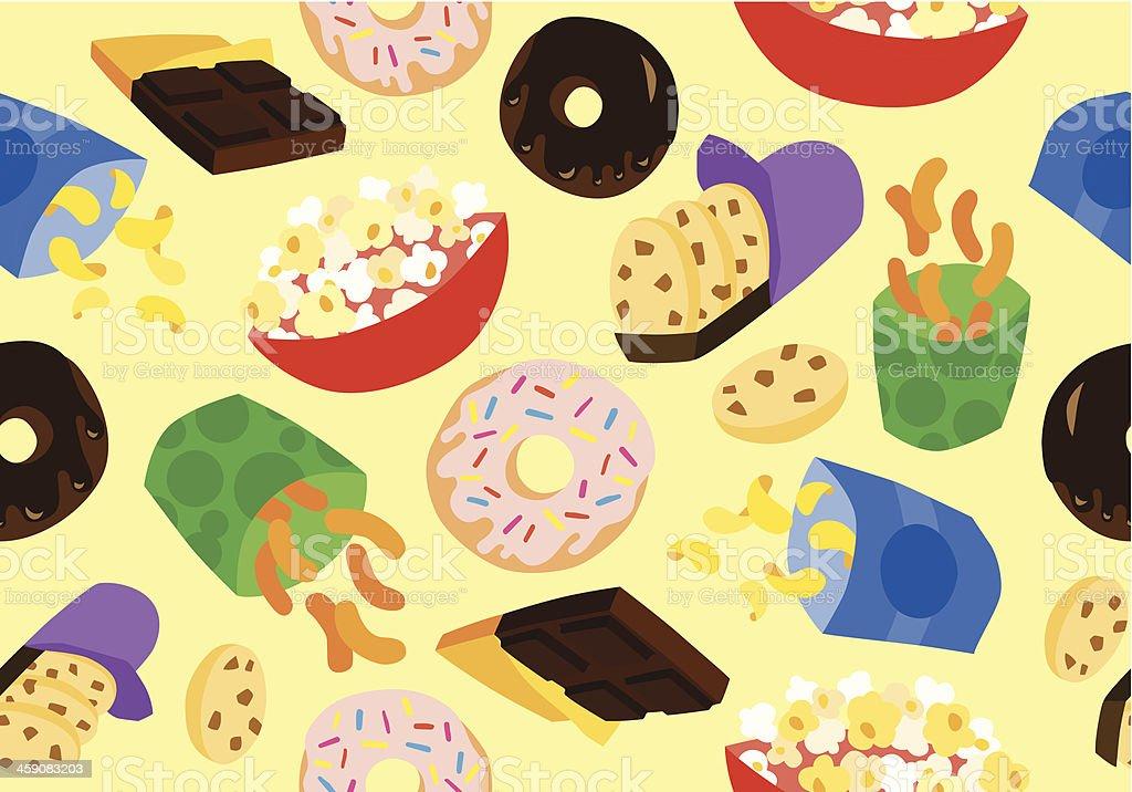 Guilty Snacks Seamless Background vector art illustration