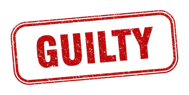 guilty stamp. guilty square grunge sign. label vector art illustration