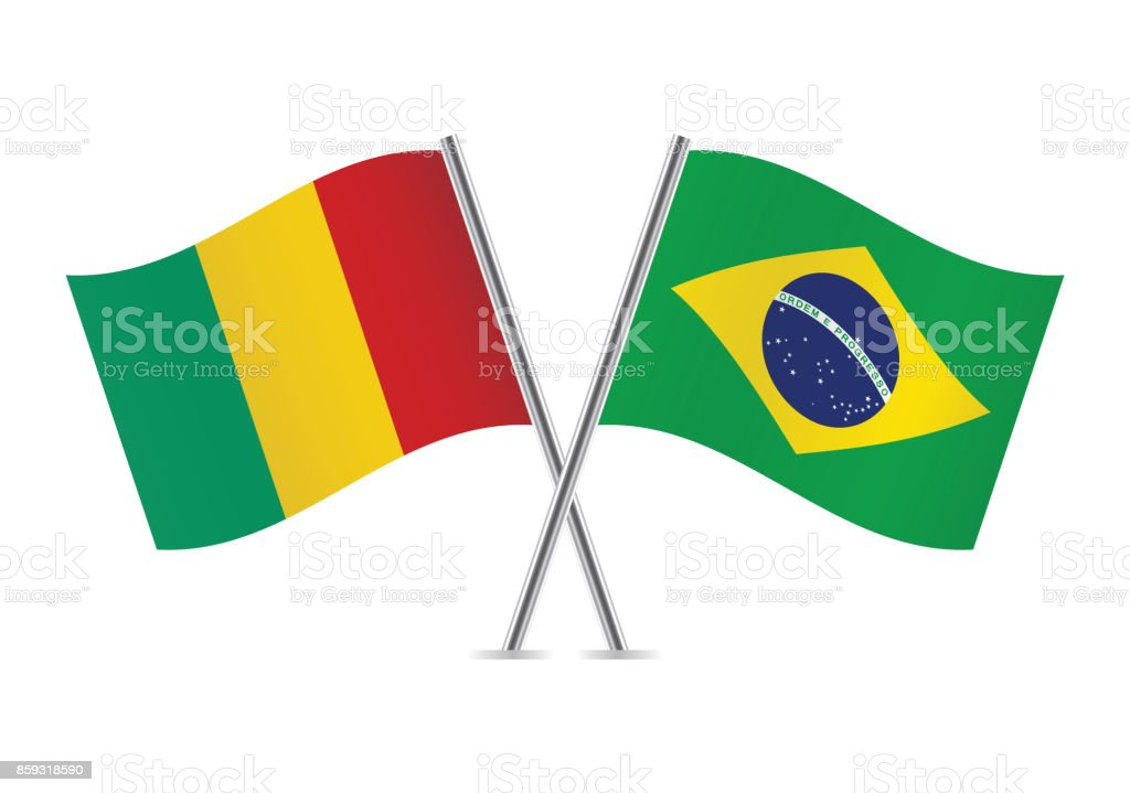 Guinea and Brazil flags.Vector illustration. vector art illustration