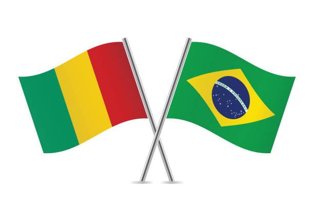 Guinea and Brazil flags.Vector illustration. vector art illustration
