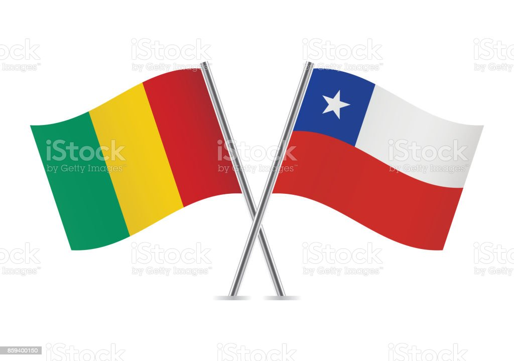 Guinea and Chile flags.Vector illustration. vector art illustration
