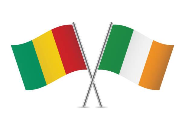 ilustraciones, imágenes clip art, dibujos animados e iconos de stock de banderas de guinea y españa. ilustración de vector. - bandera irlandesa