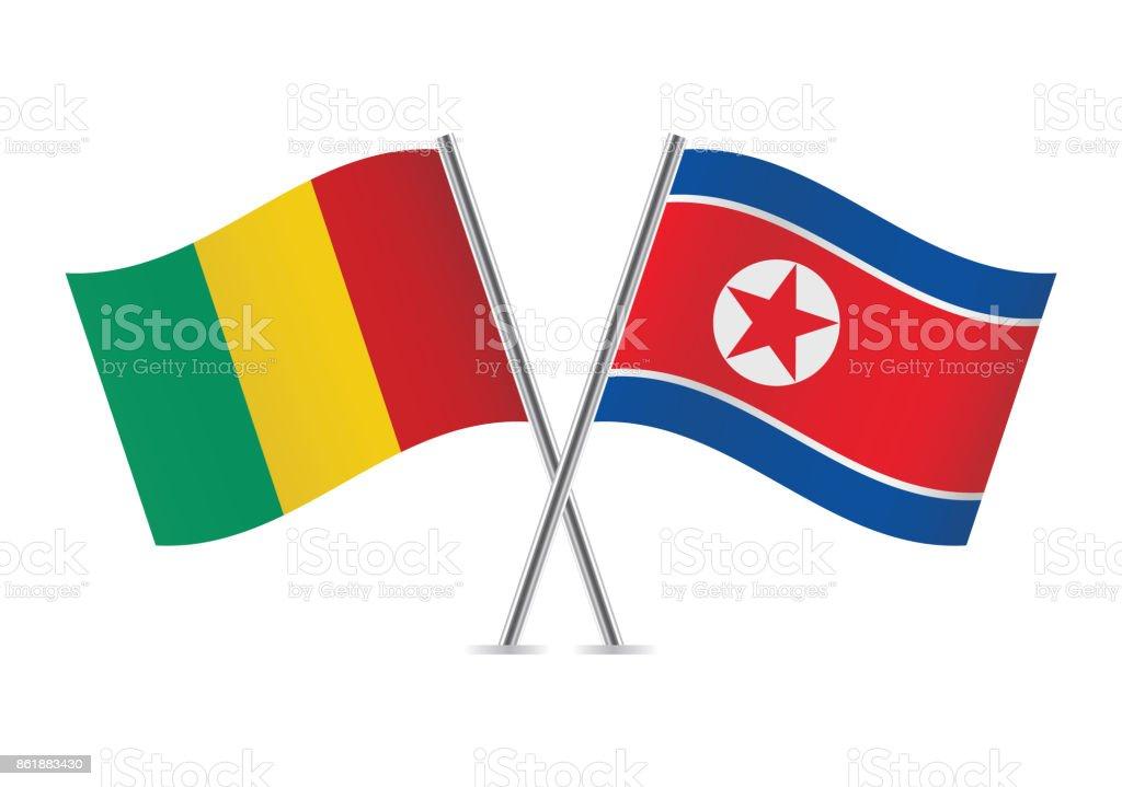 Banderas de Guinea y Corea del norte. Ilustración de vector. - ilustración de arte vectorial