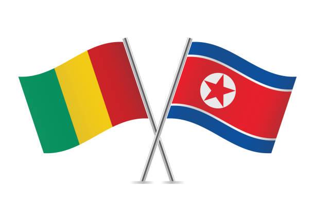 ilustraciones, imágenes clip art, dibujos animados e iconos de stock de banderas de guinea y corea del norte. ilustración de vector. - bandera coreana