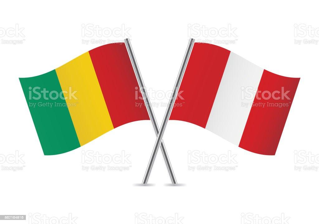 Banderas de Guinea y Perú. Ilustración de vector. - ilustración de arte vectorial