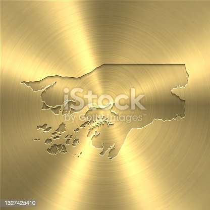 istock Guinea Bissau map on gold background - Circular brushed metal texture 1327425410