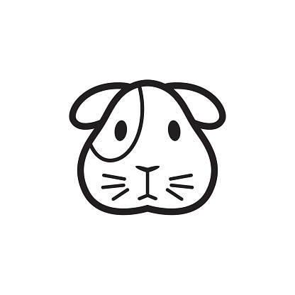 Guinea pig icon. Vector isolated funny cavy head pictogram on white background