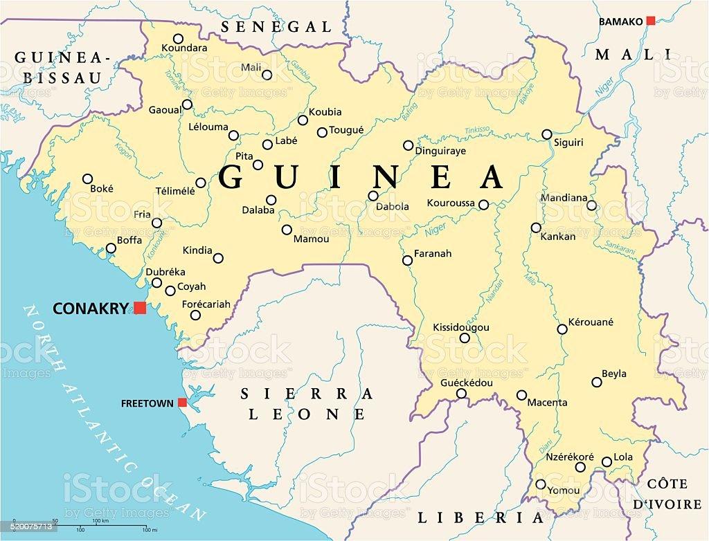 Afrika Karta Guinea.Guinea Political Map Vektorgrafik Och Fler Bilder Pa Abstrakt Istock