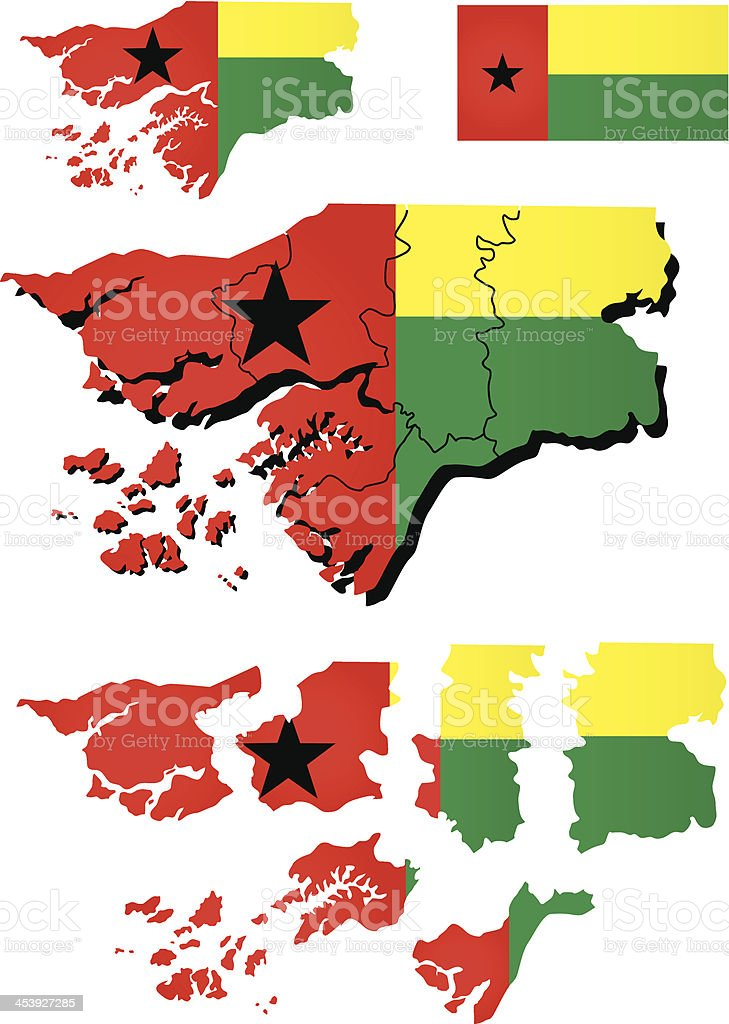 Guinea-Bissau map with flag royalty-free stock vector art