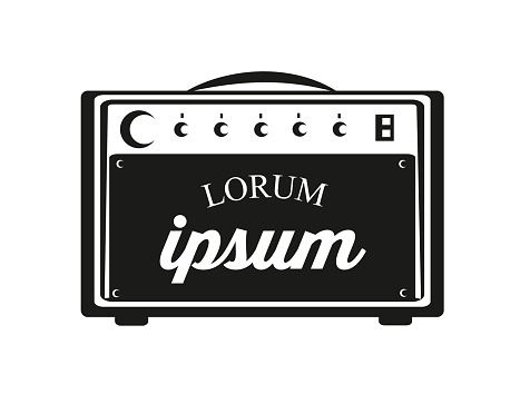 Guitar amp with text.